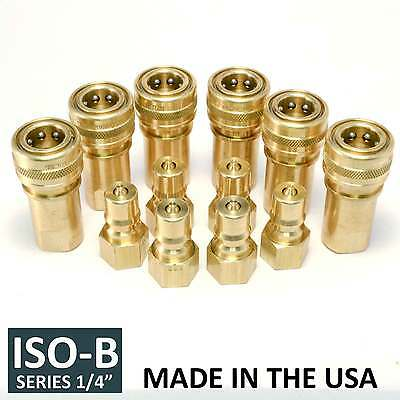 "6 Sets 1/4"" ISO-B Hydraulic Hose Quick Disconnect Couplers Plug - (ISO 7241-1 B)"