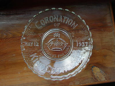 King George VI Coronation 1937 Commemorative Pressed Glass Bowl