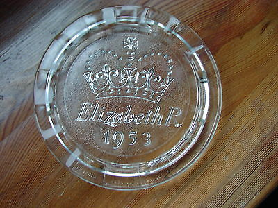 Queen Elizabeth Coronation 1953 Commemorative Pressed Glass Hot Plate By Phoenix