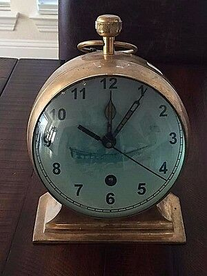 Vintage Brass Ball Clock- Restored Submarine Clock Movement- 8 Day Wind Up !