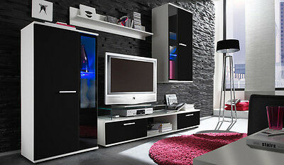 set of wall unit furniture living room  White&Black 4 pieces LED lights FREE!