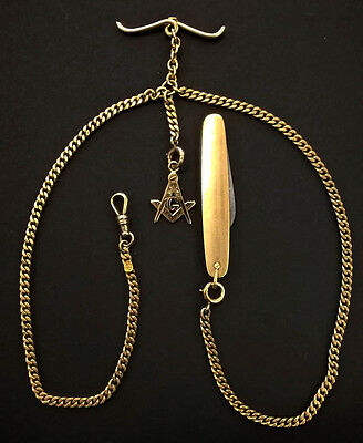 Antique 1918 Double Albert 14K Solid Gold Watch Chain Plus Masonic FOB & 10K Vos