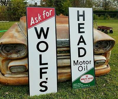 Antique Vintage Old Style Wolf's Head Oil Gas Station Sign 8 foot!