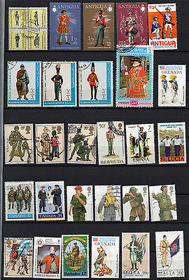 UNIFORMS on STAMPS 62 DIFFERENT MINT / USED STAMPS