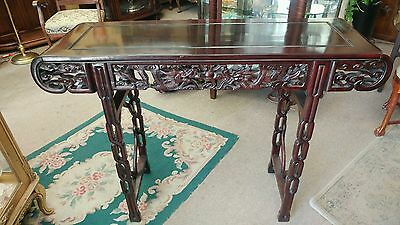 Antique Chinese Dragon Carved Rosewood Altar Table