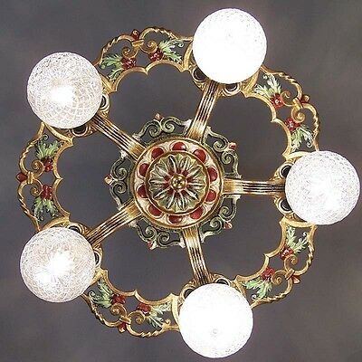 971 Vintage 20s 30s Ceiling Light  aRT Nouveau Polychrome Chandelier Virden