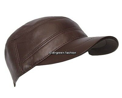 Men's CASTRO Real LEATHER CHOCOLATE BROWN gatsby classic IVY Golf FLAT Cap
