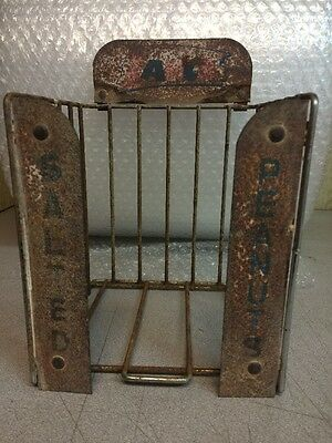 """Vintage Lance Salted Peanuts Display Rack with 3 Signs. """"RUSTY GOLD"""" RARE!!"""