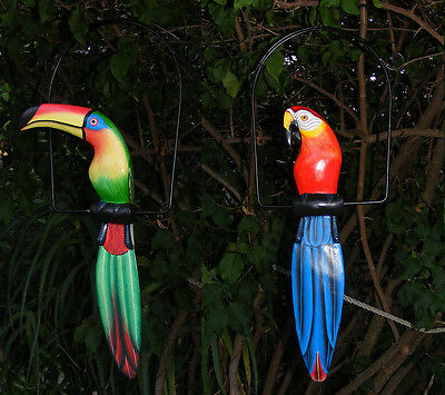 Tropical Parrot & Toucan Bird Wood Carving Tiki Bar Safari Jungle Set of 2 - 16""