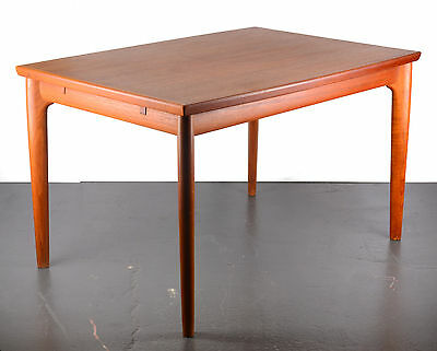 Vintage Danish teak extendable dining table with Dutch leaves, 1950s 50s