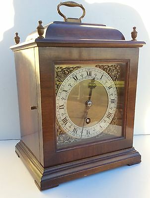 English Walnut Bracket Clock with Floating Balance