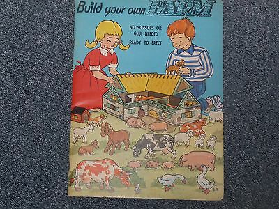 Vintage Child's Build Your Own Farm press out book UNUSED Litor Publisher