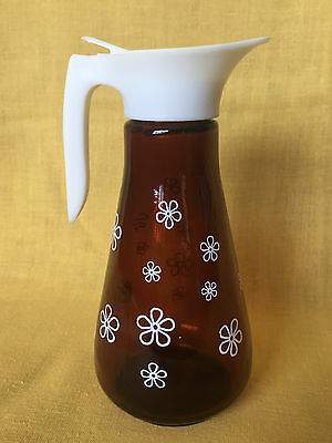 Vintage Mid Century Retro Amber Glass Daisy Flower Syrup Dispenser