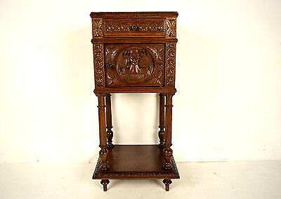Gorgeous French Circa1860's Solid Oak Wood Breton-style Night Stand