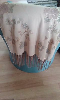 Vintage Jin Chen silk beige scarf with embroidered flowers and fringe