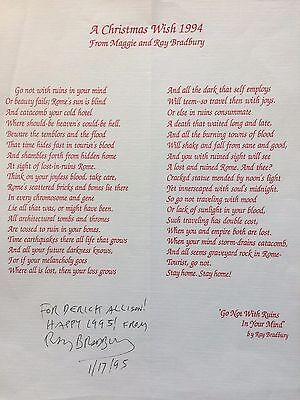 Ray Bradbury, Autographed Typed Christmas Poem, Signed By The Author!