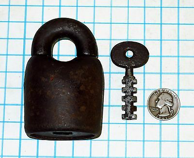 Genuine Vtg Antique Old Large Huge Iron Scandinavian Padlock Lock and Key Scandi