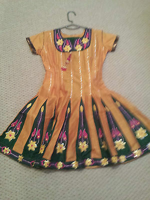 indian asian girl dress  size 36 in yellow and green