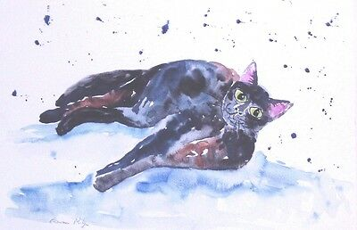 Black Cat Lying Original watercolour painting Size A3 By Casimira