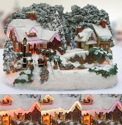 Christmas Snow Village Santa and Reindeer LED Fiber Optic Village