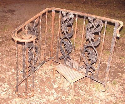 Vtg Wrought Iron Stair Railing Swirl Cast Iron Flowers Garden Yard Metal Art
