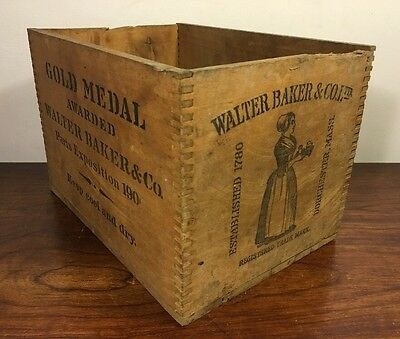 Vintage Walter Baker & Co Chocolate Gold Medal Exposition Wood Crate Clean Mass