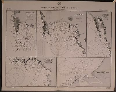 WWII Era Nautical Chart 814 SOUTH AMERICA West Anchorages On Coast Of Columbia