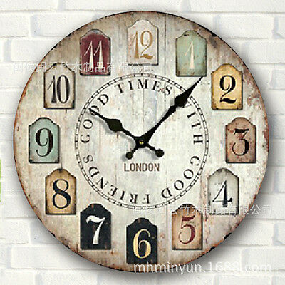 Holloween Decor Large Vintage Rustic Wooden Wall Clock Antique Shabby Chic Retro