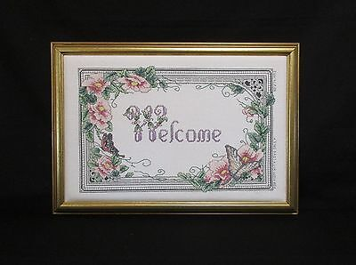 Vintage Welcome Finished Cross Stitch Flowers Butterflies  Framed Needlework
