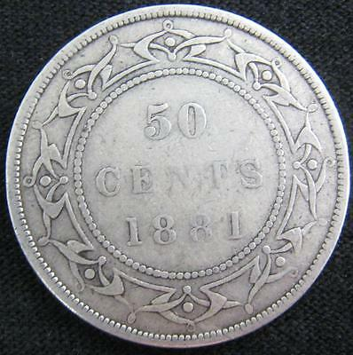 G5219 - 1881 - Canada - Nfld - 50 Cent Silver Coin - Ungraded - Nr