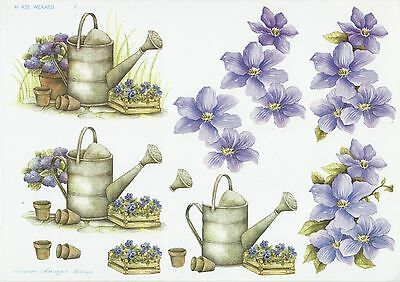 2 PAPER TOLE DESIGN SHEETS - Watering Can with Flowers (Sandy Jane Design)
