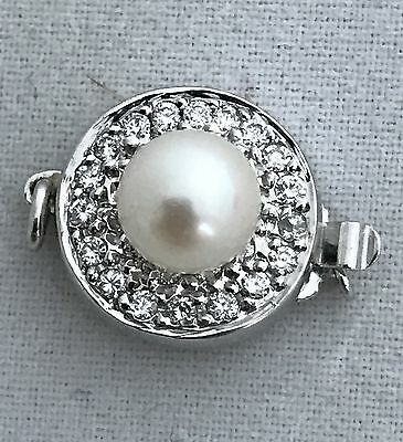Handmade Clasp For Pearls 14K White Gold, Diamonds And  Japanese Pearl