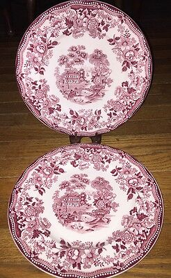 Set of 2 Dinner Plates ROYAL STAFFORDSHIRE Clarice Cliff RED TONQUIN  10""