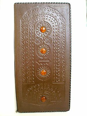 Vintage Soviet tooled Genuine brown tooled leather cover with amber from 80s