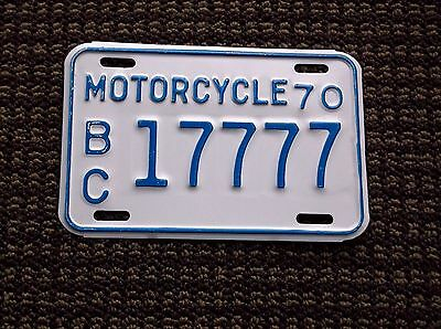1970 British Columbia Canada MOTORCYCLE License Plate