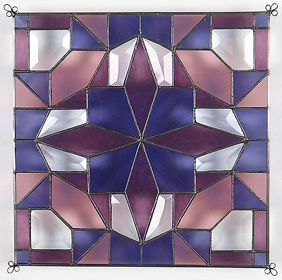 """12"""" Stained Glass Quilt Panel """"White House Rose """" Hand Made"""