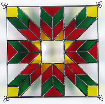 """9"""" Stained Glass Quilt Panel """"CHRISTMAS STAR"""" Hand Made Glass Panel"""