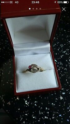 Old Vintage Gold Deco Diamond And Ruby Ring
