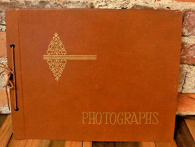 Vintage Blank Scrapbook Photo Album Tie Bound Photographs 21 Black Unused Pages