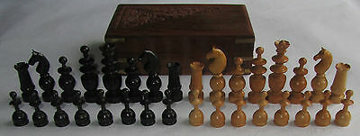 VINTAGE  REGENCY CHESS SET BOXWOOD King 80mm in WOOD BOX - COMPLETE 32 Pieces