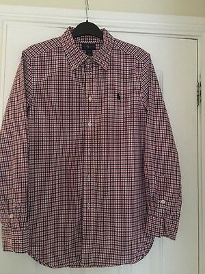 Boys Ralph Lauren red, white and blue checked Shirt Size L 14-16 years