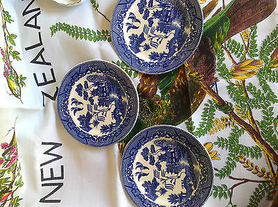 3 Vintage Willow Pattern Plates Made in Japan