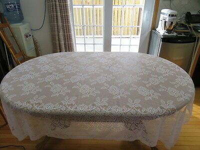 """Vintage Lace Flower Tablecloth - White - 70"""" By 64"""""""