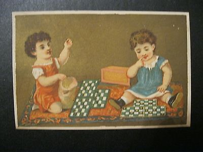 VTG Victorian Trade Card 1800's Children Playing Checkers Game   129