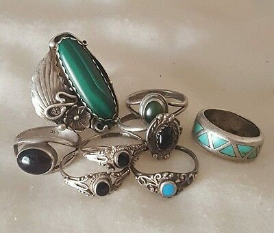 Lot of 8 Vintage Old Pawn Native American Sterling Silver Turquoise RINGS size 6