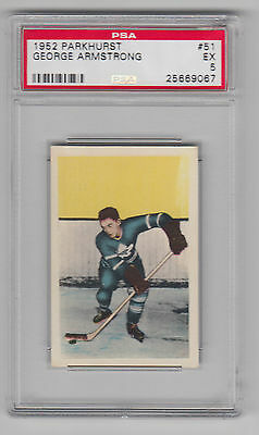 1952-53 Parkhurst, #51, George Armstrong Rookie, Psa 5 (Ex). Centered.