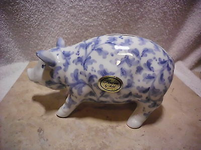 Vintage Andrea By Sadek Blue And White Floral Vining Piggy Bank With Label