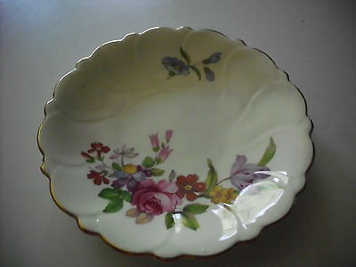 Vintage Staffordshire England Bone China Pink Floral Scalloped Edge Pin Dish