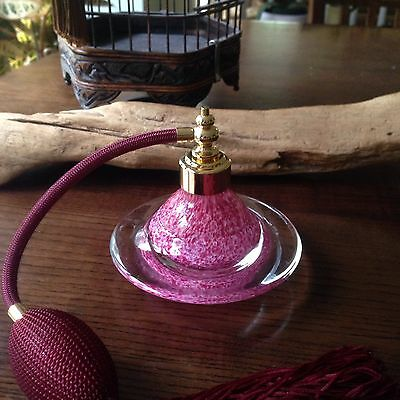 Hand crafted, blown art glass perfume Atomizer In red color,burgundy Tassel New