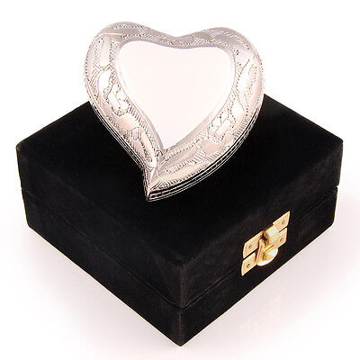 Keepsake White Heart Cremation Urn with velvet box and stand